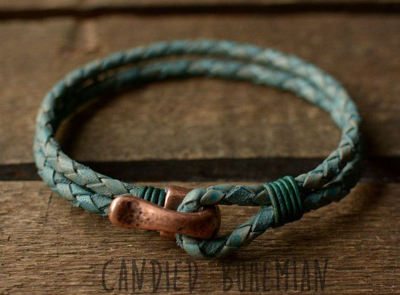 Mens Leather Bracelet Leather bracelets Men by CandiedBohemian