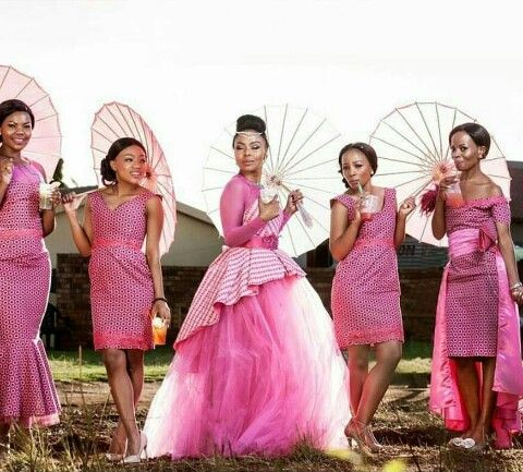 Pink African wedding dresses!