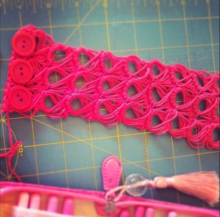 Broomstick lace crochet cuff.