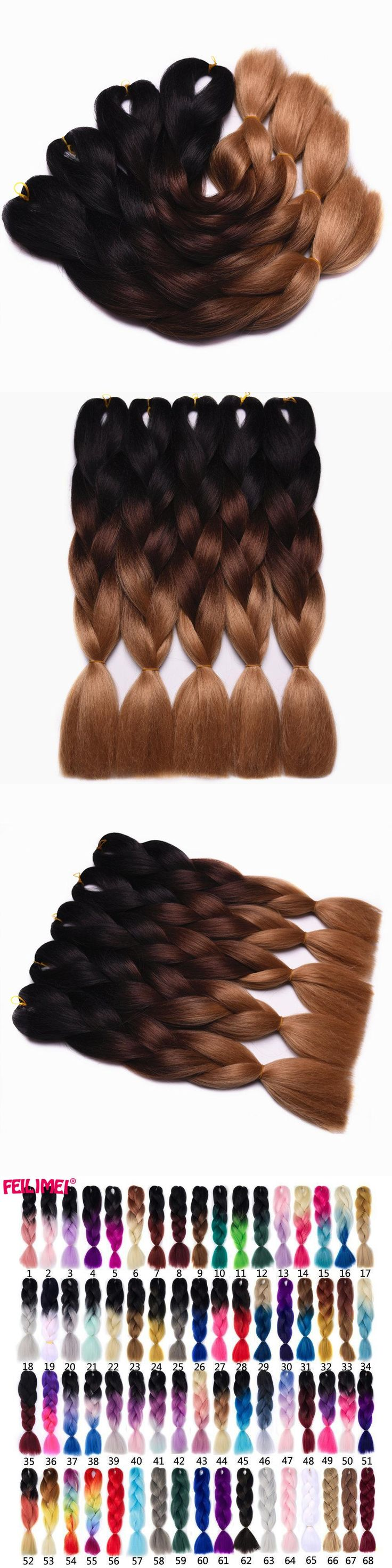 "Feilimei Brown Braiding Hair Extensions Synthetic jumbo Braids 24""(60cm) 100g/pc Two/Three Toned Ombre Crochet Hair Bulk Bundles"