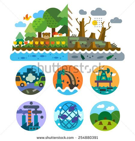Ecological problems: pollution of water, earth, air, deforestation, destruction of animals. Mills and factories. Forest landscape. Environmental protection. Vector flat illustration and emblems set