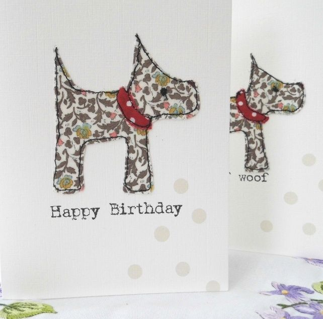 liberty fabric scottie dog birthday card £3.50
