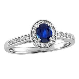 10KT White gold 0.10 ctw diamond and sapphire ring. RIN-LGM-2740