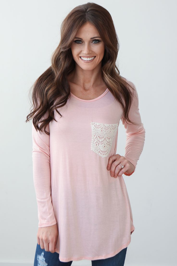 Magnolia Boutique Indianapolis - Long Sleeve Crochet Pocket Top - Peach, $27.00 (http://www.indiefashionboutique.com/long-sleeve-crochet-pocket-top-peach/)