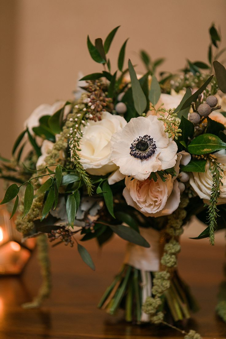 Ivy Room Chicago Fall Wedding Bouquet with Anemone and Amaranthus