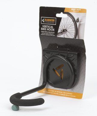 Gladiator GarageWorks GAWEXXVBSH Vertical Bike Hook by Gladiator Garage Works. $9.99. From the Manufacturer                Store your bike perpendicular to the wall with the Gladiator Vertical Bike Hook. The 2.75-Inch wide x 4-Inch high x 5.5-Inch deep welded steel Vertical Bike Hook holds heavy items and has a weight capacity rating of 30 lbs. per hook, based on lab test of 120 lbs. per hook. It is great for storing bicycles.                                    Product Des...