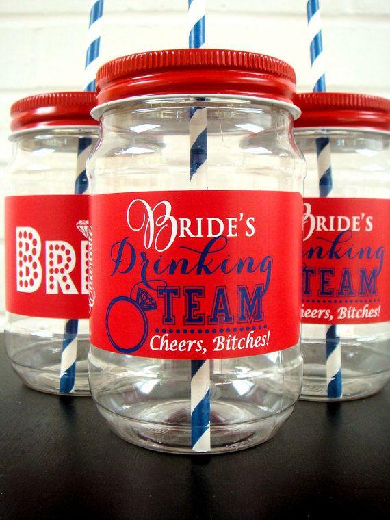 Bachelorette Party Cups, Bachelorette Weekend, Bride's Drinking Team. Plastic Mason Jar Cups with, Vinyl, Waterproof labels on Etsy, $42.00