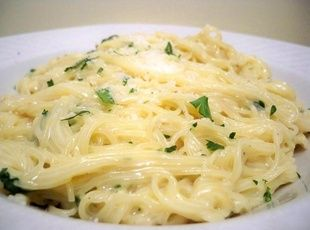 Creamy Garlic Pasta Recipe- add chicken and a veggie
