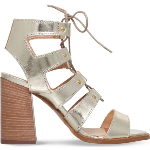 CARVELA Kandice leather heeled sandals ($125) ❤ liked on Polyvore featuring shoes, sandals, gold, gladiator sandals, lace up high heel sandals, lace up gladiator sandals, strappy lace up sandals and strap sandals
