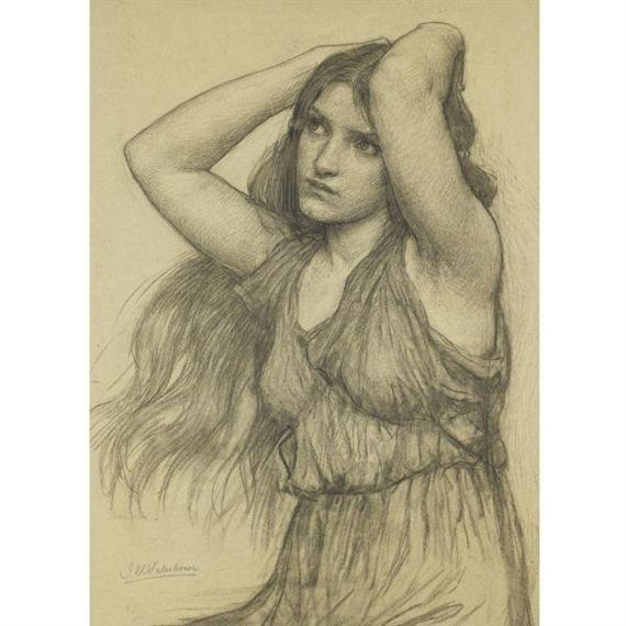 Flora - Drawing - John William Waterhouse