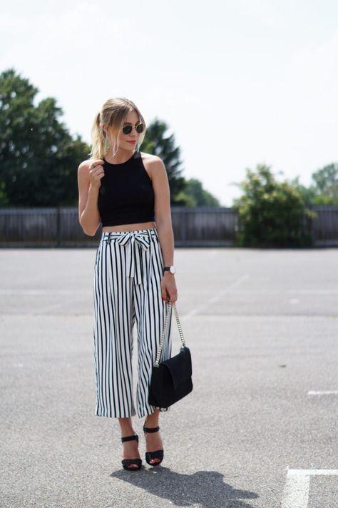 Outfit: Striped Culotte X Crop Top