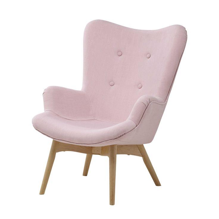 Kinderfauteuil, vintage stijl, stoffen bekleding, roze Iceberg