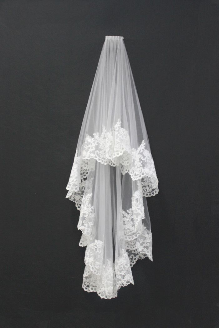 Custom-made Beautiful Vintage Lace Trim Wedding Veil rockmywinterwedding @Rock My Wedding