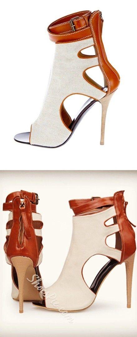 Shoespie Canvas Zipper Peep toe Ankle Boots