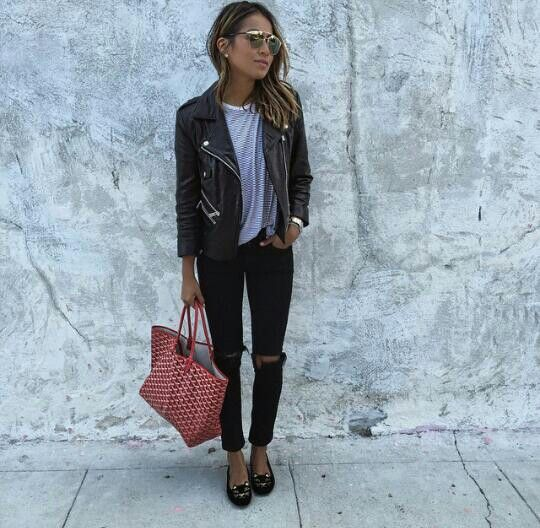 Leather and ripped jeans with a Goyard tote