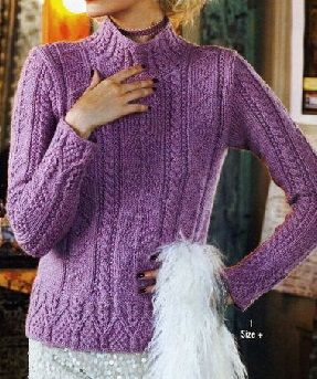Aran Pullover - Vogue 2011 - Holiday Started January, 2014 Caron Simply Soft Eco - Sprig