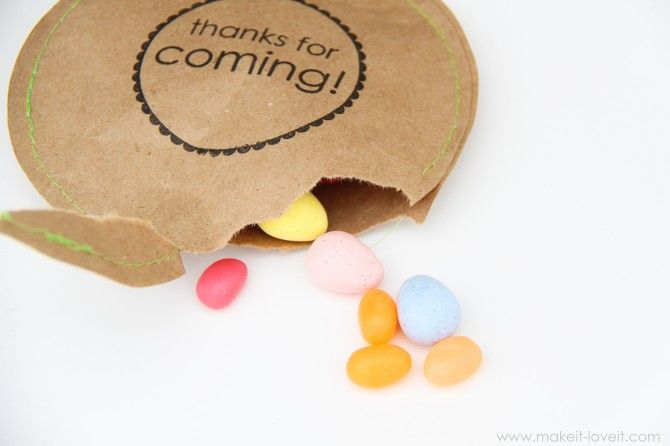 Party Thank-You Favors filled with candy ... easy to make with 2 brown paper circles, a quick stamped message on the top circle, colored thread to sew and stuffed with your favorite candies.