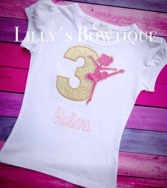 Roze en gouden Ballerina verjaardag shirt door LillysBowtique