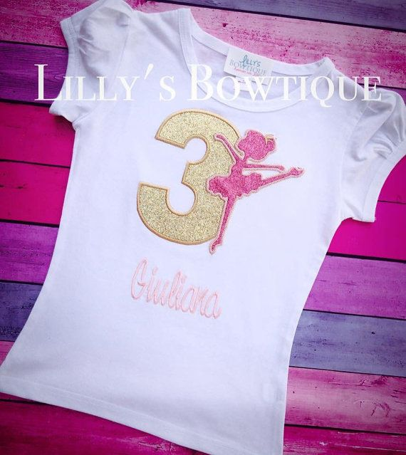 Hey, I found this really awesome Etsy listing at https://www.etsy.com/listing/220070832/pink-and-gold-ballerina-birthday-shirt