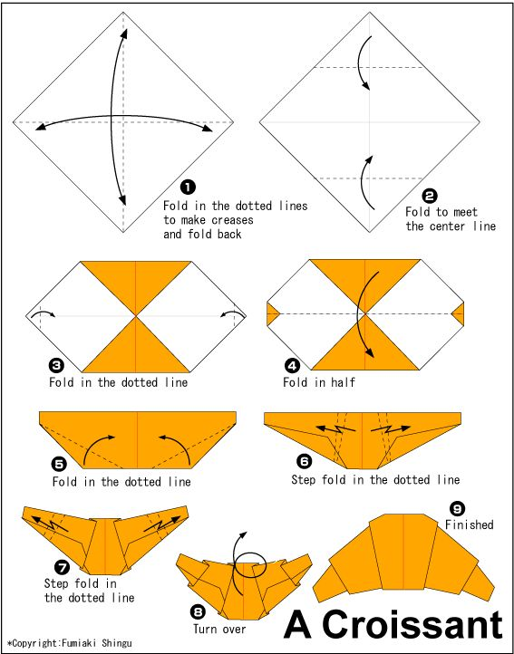 Origami Croissant - Translate into French. Use to teach either the imperative mood or the history of the croissant.