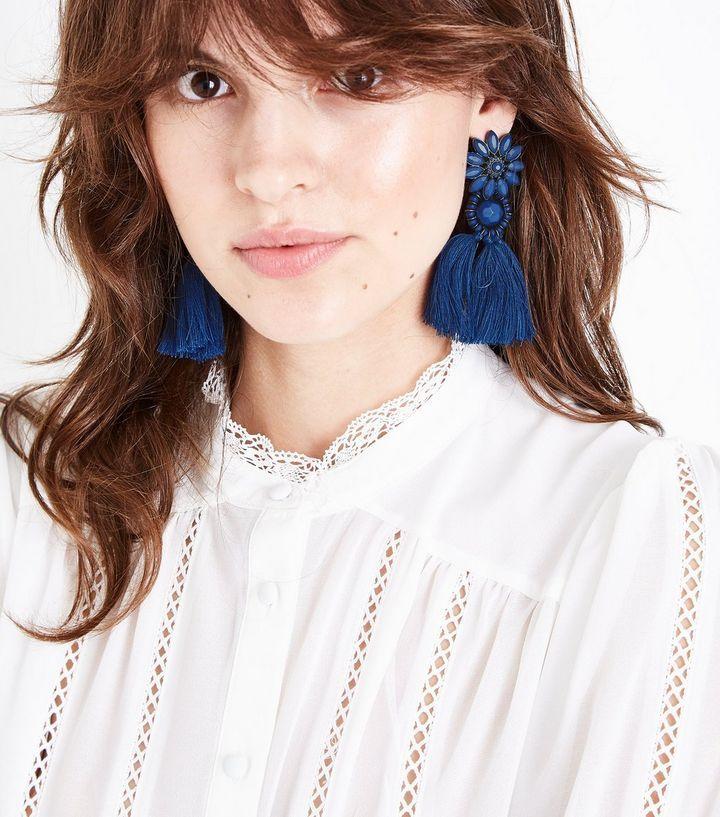 Blue Flower Tassel Drop Earrings | New Look