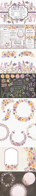 Watercolor bundle: wild flowers. Wedding Card Templates