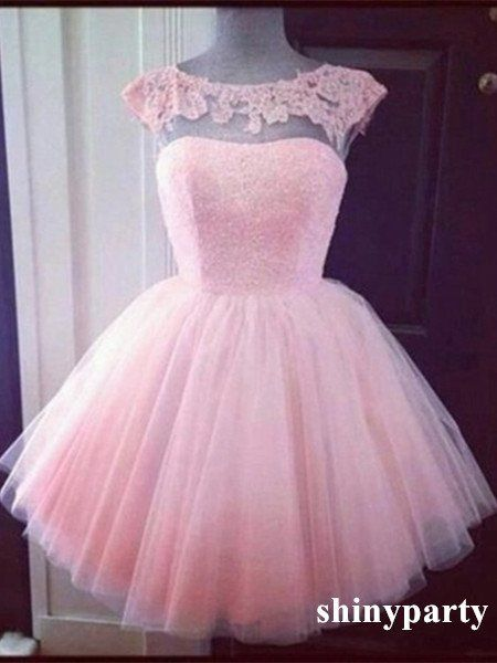 Custom Made Pink Tulle Round Neck Short Lace Prom Dress, Homecoming Dress #shinyparty #dress #prom #formal #pink #roundneck #short #lace #homecoming #shortdress