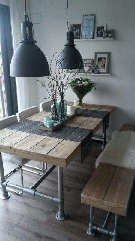 Tafel steigerbuis steigerhouten blad op voorraad alle maten (22131521) 200 x 80 : 303 euro