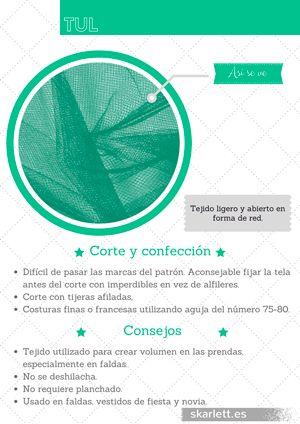 Recopilatorio de más de 60 telas diferentes con información sobre su corte y confección y curiosidades. #tul #telas #recopilatorio