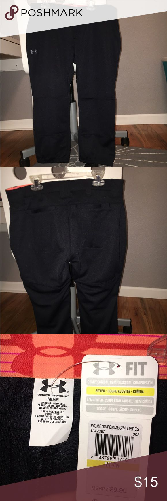 Womens black Under armour softball pants. Black. Fitted. Thick sturdy material. New with tags. Women's. Never been worn. Under Armour Pants