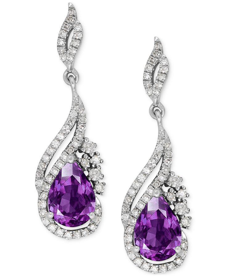 Amethyst (1-1/4 ct. t.w.) and Diamond (1/3 ct. t.w.) Drop Earrings in 14k White Gold   macys.com