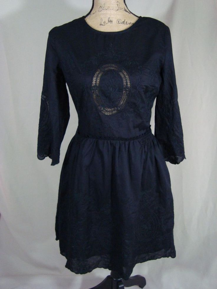 Victoria Secret Embroidered Dress 3/4 Sleeve Eyelet Black Size 6 D35 #VictoriaSecret #EmbroideredFlareDress #Casual