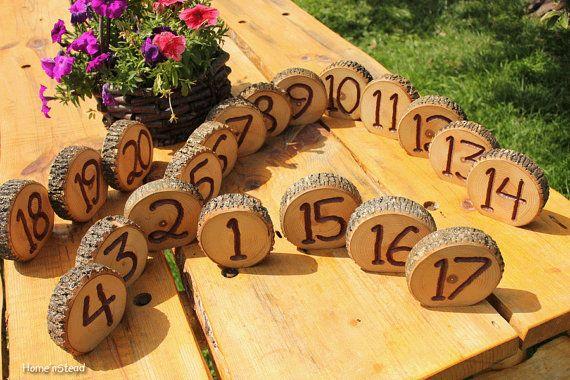 Rustic Wedding Log Table Numbers Ash Wood Bark Country Wedding Decor. $6.00, via Etsy.