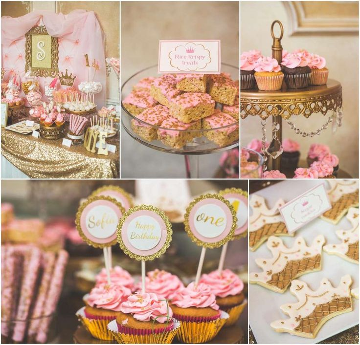 Royal treats at a pink and gold princess first birthday party! See more party planning ideas at CatchMyParty.com!