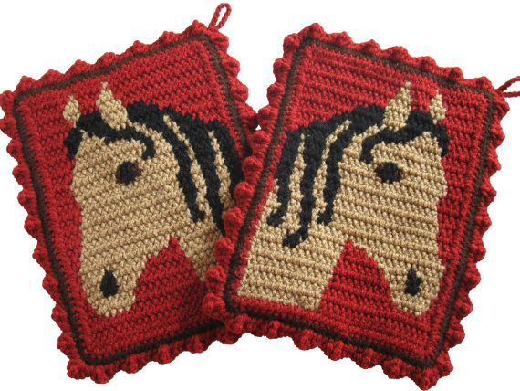 Horse Pot Holders. Large Crochet Potholders With Buckskin Horse Heads.  Ranch Red Kitchen Decor