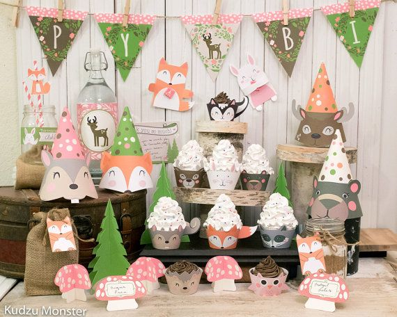 Girly Pink Woodland Party Printable Decor Kit Fox Baby Deer Raccoon Bear  Bunny Forest Animals Cupcake Wrappers Banner Baby Shower Birthday