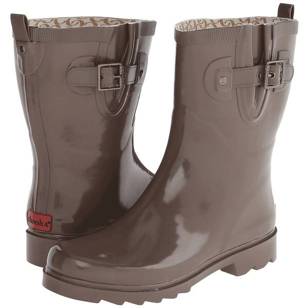 Chooka Posh Solid Mid Women's Rain Boots, Taupe ($35) ❤ liked on Polyvore featuring shoes, boots, mid-calf boots, taupe, taupe mid calf boots, chooka boots, slip on rain boots, calf length boots and wellington rubber boots