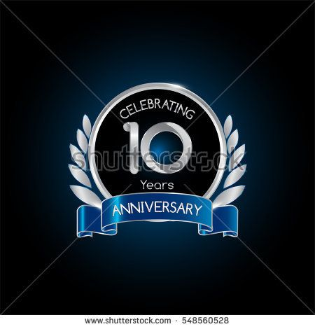 10 years silver anniversary celebration logo with blue ribbon , isolated on dark background