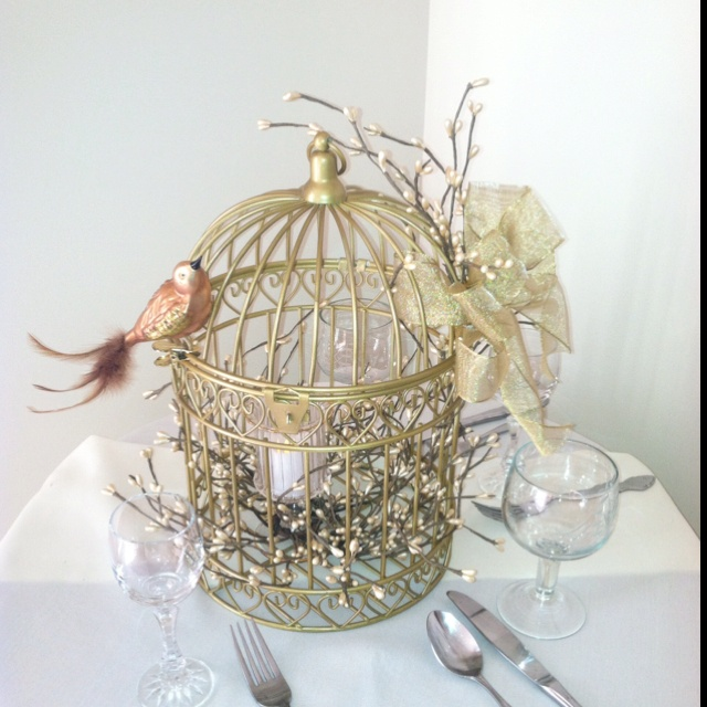 Bird cage my mom made for wedding centerpieces