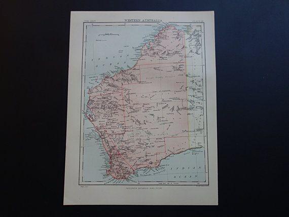 WESTERN AUSTRALIA map  1888 original antique by DecorativePrints