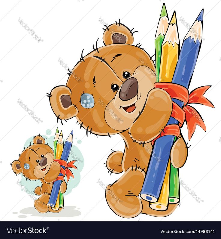 Vector illustration of a brown teddy bear holding in its paws a bunch of pencils linked by a ribbon. Print, template, design element. Download a Free Preview or High Quality Adobe Illustrator Ai, EPS, PDF and High Resolution JPEG versions.