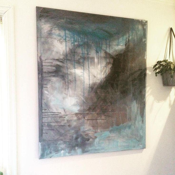Lerret 100x130 på tynn treramme i kalde favorittfarger #abstrakt #akrylmaling #abstractart #maleri #maleriertilsalg #lerret #canvas #instacanvas #canvaspainting #abstractart #abstractpainting #paintings