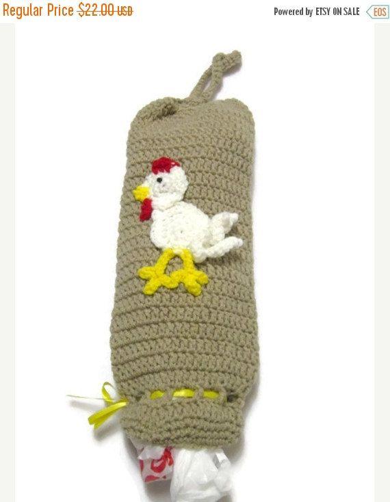 Crochet Plastic Bag Holder Tan with White by crochetedbycharlene