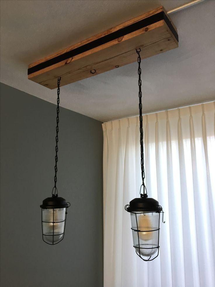 Eetkamer lamp met massief grenen hout blok van 20x10x87cm Gemaakt door ...