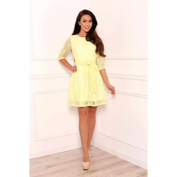 Yellow Lace Mini Women's Dress 3/4 Sleeves ($100) ❤ liked on Polyvore featuring dresses, pink mini dress, pink evening dress, lace mini dress, holiday dresses and lace cocktail dresses