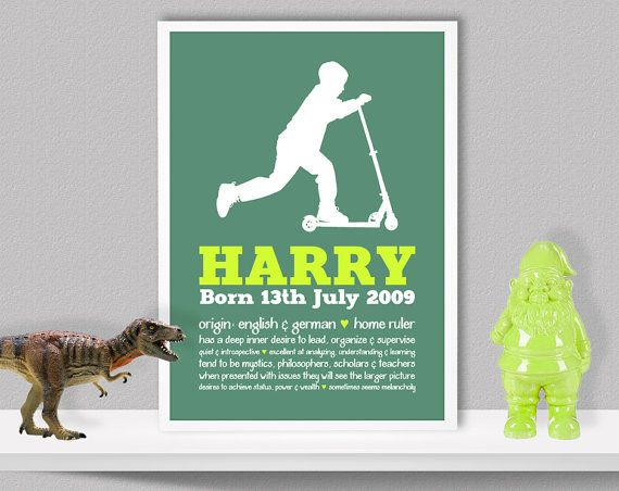 Personalised Child's Name Meaning Boy Scooter by LochnessStudio, $29.00