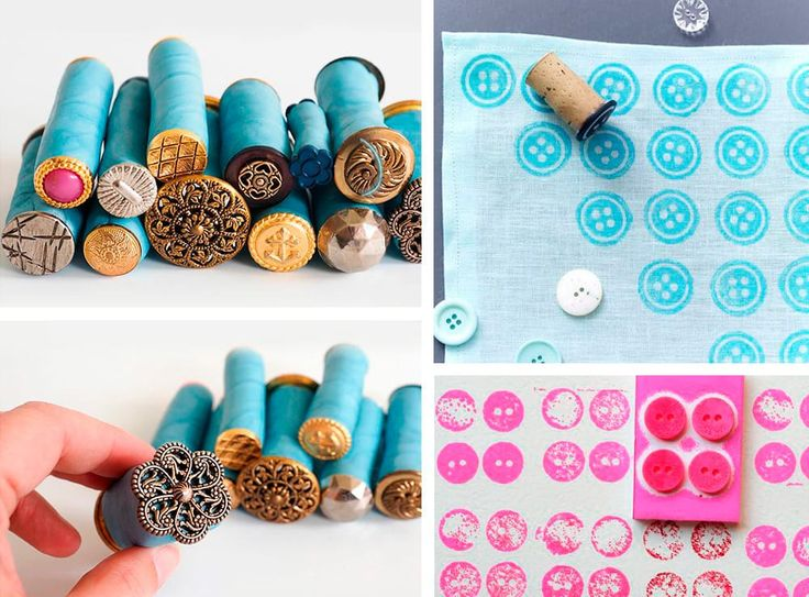 Timbri fai da te creati con i bottoni | DIY stamp made with buttons and cork • #DIY #stamp #button #recycle #cork