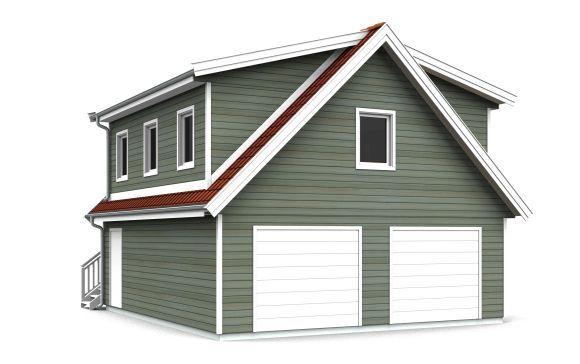 Garasje med leilighet Standardbredde 7,3 meter. Les mer om hva du skal tenke på når du velger bredde og lengde i vår plassguide. Utvendig stan...