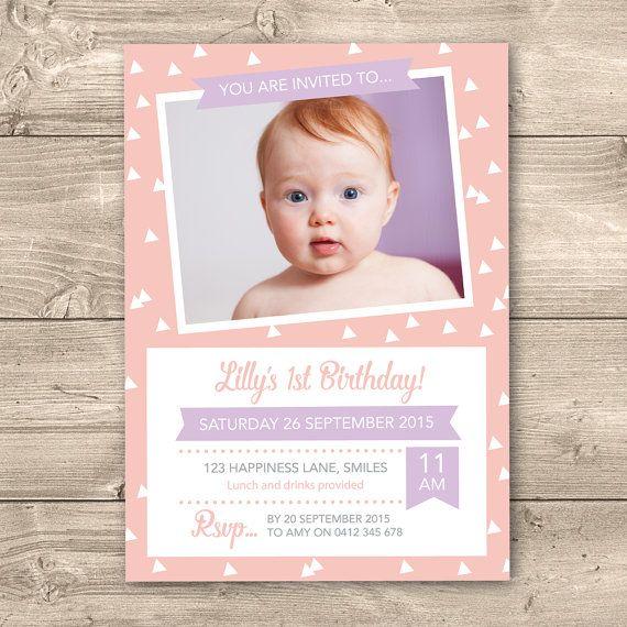 Girls 1st Birthday Invitation Digital File  by InkandCardDesigns