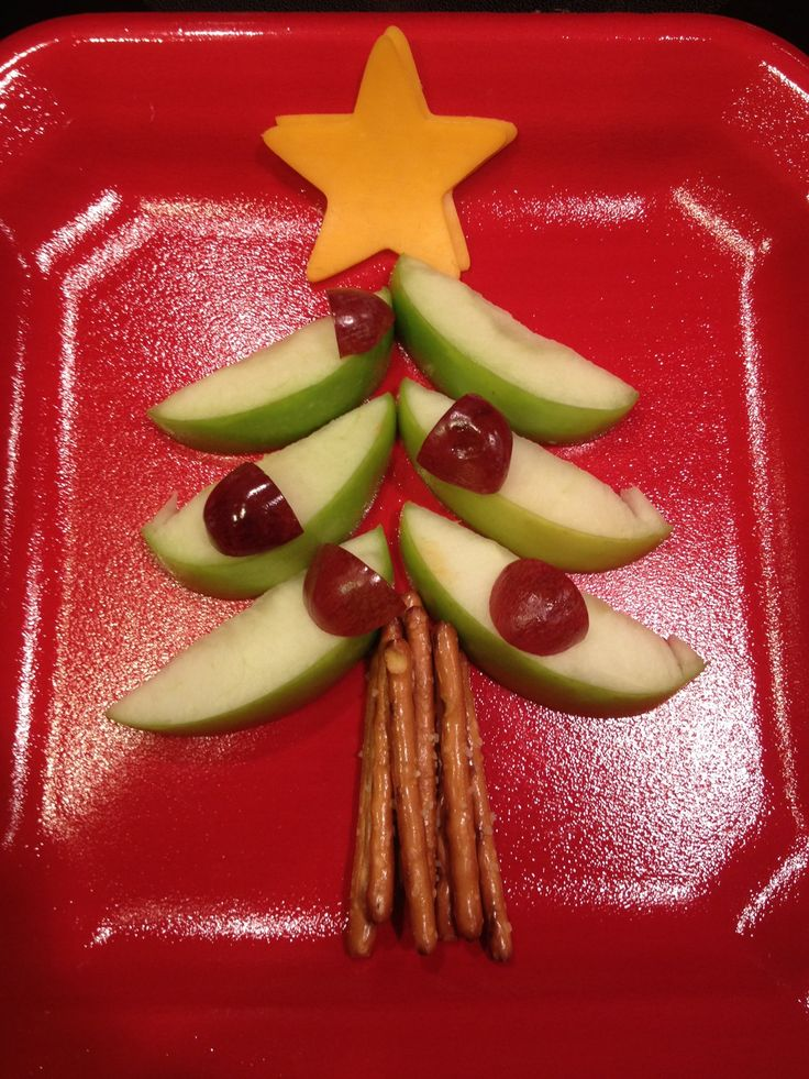 Healthy christmas snack for kids - use gluten free pretzels or celery stick for trunk and Daiya dairy free, soy free cheese for star
